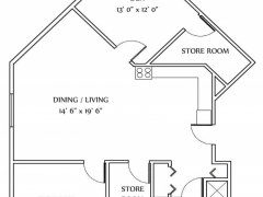 One Bedroom Style E - 1101SQ FT